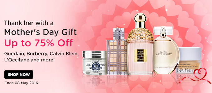Mother's Day gift - save up to 75% off Guerlain, Burberry, Calvin klein, L'occitane and more at StrawberryNET.