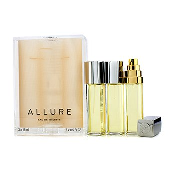 ChanelAllure Eau De Toilette Purse Spray And 2 Refills 3x15ml/0.5oz