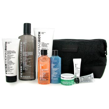 Peter Thomas Roth-Ideal Shave Kit: Clns Gel+ Buffing Beads+ Shave Crm+ A/S Tonic+ A/S Balm+ Gel+ Lip Balm+ Mask+ Bag