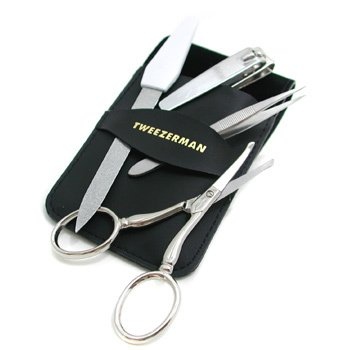 Tweezerman-Deluxe Grooming Kit: Nail Clipper+ Nail File+ Facial Nose Hair Scissors+ Point Tweezerette