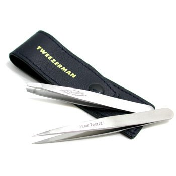 TweezermanPetite Tweeze Set: Slant Tweezer + Point Tweezer (With Travel Case) 2pcs