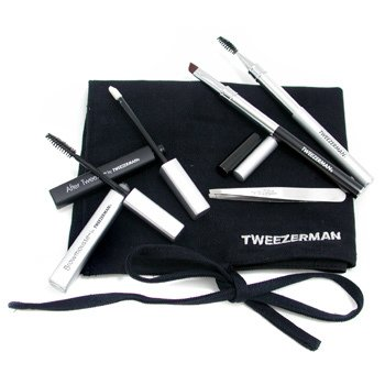 Tweezerman-Brow Grooming Solution Kit: Slant Tweezer + Soothing Crm + 2x Brush + BrowMousse + Case