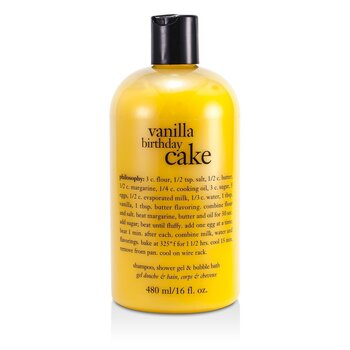 PhilosophyVanilla Birthday Cake - Award Winning Ultra Rich Shampoo, S/G & Bubble Bath 473.1ml/16oz