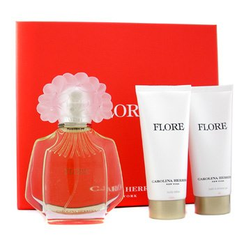Carolina Herrera Flore Coffret: Eau De Parfum Spray 100ml + Body Lotion 100ml + Shower Gel 100ml  3pcs
