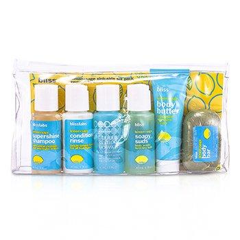 Bliss Lemon & Sage Sinkside Six Pack: Body Butter+Soapy Sap+Shampoo+Conditioner+Face Wash+Soap  6pcs+1bag