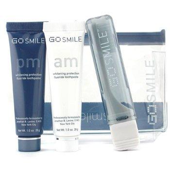 GoSmile-Jet Set Kit: AM Fluoride Toothpaste 28g + PM Fluoride Toothpaste 28g + Toothbrush + Bag