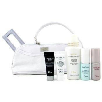 Christian Dior-Travel Set: H/Action Essc.+ Capture Total+ Snow Pure Base+ Bikini B/M + Capture R60/80 Night Creme + Mirror+ Bag