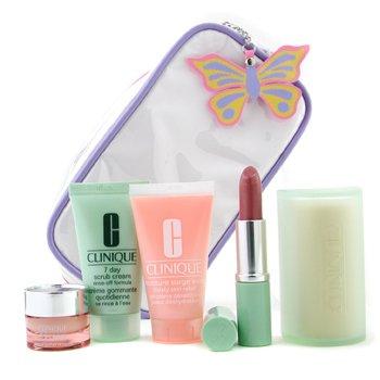 Clinique-Travel Set: Scrub 30ml + Facial Soap 50g + Moisture Surge 30ml + Eye Cream 7ml + Lipstick + Bag