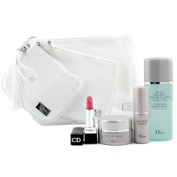 Christian Dior-Travel Set: Cleansing Oil + Capture Totale Cream + Capture Totale Serum + Lipstick + 3xBag