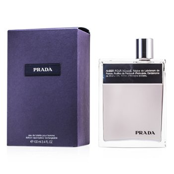 Prada Amber Pour Homme Eau De Toilette Deluxe Refillable Spray 100ml/3.4oz men s fragrance