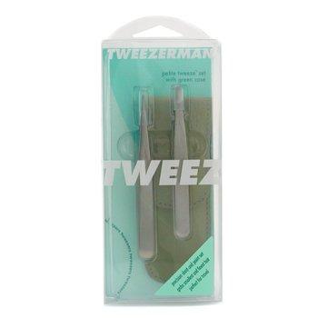 Tweezerman-Petite Tweeze Set: Slant Tweezer + Point Tweezer - ( With Green Leather Case )