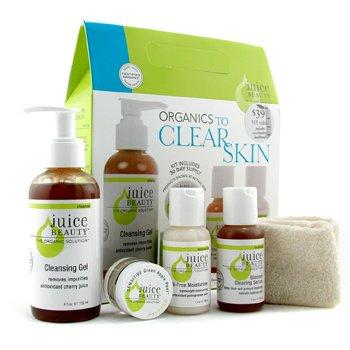 Juice Beauty-Organics To Clear Skin Kit: Cleanser + Green Apple Peel + Serum + Moisturizer + Headband