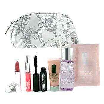 Clinique-Travel Set: MU Remover + Eye Cream + Eye Mask + Mascara + Lip Gloss + Lipstick + Bag