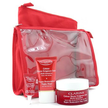 Clarins-Super Restorative Coffret ( For Very Dry Skin) : Day Cream 50ml + Night Cream + Eye Cream + 2xBags