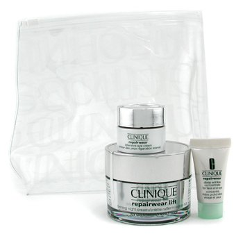Clinique-Repairwear Set: Night Cream 50ml + Serum 7ml + Eye Cream 7ml + Bag