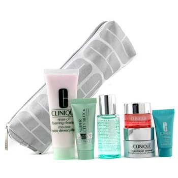 Clinique-Travel Set: Cleanser + M. Ltn2 + Repairwear Crm + Eye Crm + Turnaround Renewer + Sun Block