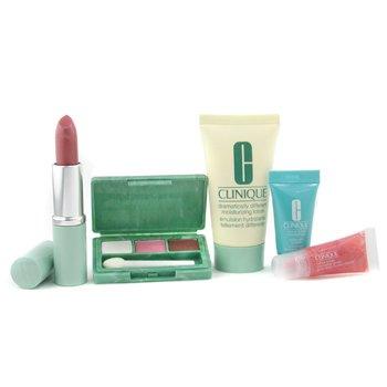 Clinique-Travel Set: DDML 30ml + Turnaround Conc. 7ml + Eye Palette + Lipstick + Lip Gloss + Bag