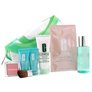 Clinique-Travel Set: Foam Cleanser + Ltn 2 + Concentrate + 15 Mins. Facial + Blush + Mask + Brush + Bag
