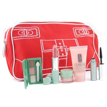 Clinique-Travel Set: Moisture Surge Extra 30ml +All About Eyes 5ml +Mini Eye Palette + Masc.+ Lipstick + Bag