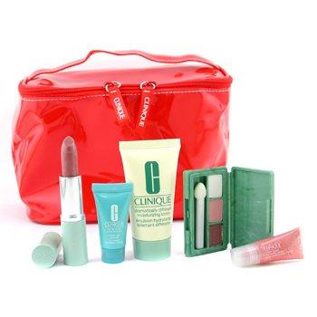Clinique-Travel Set: DDML 30ml + Turnaround Conc. 7ml + Mini Eye Palette + Lipstick + Glossy + Bag