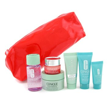 Clinique-Travel Set: Makeup Remover + Day Cream + Serum + Eye Cream + Mask + Sun Block + Bag