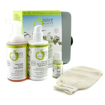 Juice Beauty-Green Apple Body Brilliance Kit: Peel 30ml + Cleanser 280ml + Moisturizer 300ml + Body Buff + Bag