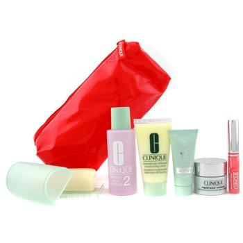 Clinique-Travel Set: Soap + Lotion 2 + D.D.M.L + Repairwear Contour + Sun Block + Lip Gloss + Bag