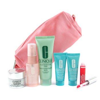 Clinique-Travel Set: Cleanser + Face Spray + Turnaround Renewer + Mask + Repairwear Night Cr. + Lipgloss