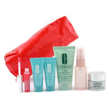 Clinique-Travel Set: Face Scrub+ Face Spray+ Turnaround Renewer+ Mask+ Repairwear N/Cream+ Lip Gloss+ Bag