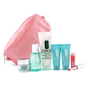 Clinique-Travel Set: Cleanser + Lotion + Turnaround + Turnaround Mask + Repairwear Night Cream + Lip Gloss