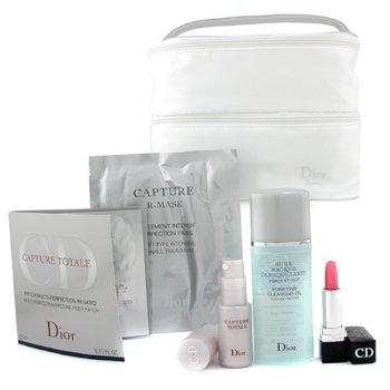 Christian Dior-Travel Set: Capture R-Mask+ Capture Totale + Cleansing Oil + Eyezone Fiber Patch + Rouge Dior + Bag