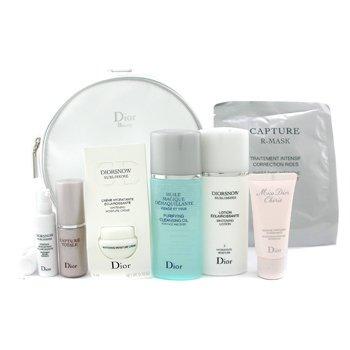 Christian Dior-Travel Set: Cleansing Oil + Lotion + Cream + Essence+ Concentrate + Mask + Shower Gel + Bag