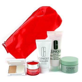 Clinique-Travel Set: Cleanser 50ml + Superdefense 15ml + Hand Cream 30ml + Eye Cream 7ml + Foundation + Bag