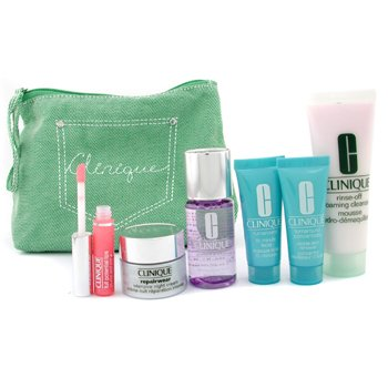 Clinique-Travel Set: Make Up Remover + Cleanser + Night Cream + Turnaround Renewer + Mask + Lipgloss + Bag