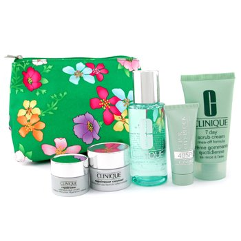 Clinique-Travel Set: Face Scrub 50ml + Lotion 60ml + Repairwear 15ml + Eye Cream 7ml + Sun Block 15ml + Bag