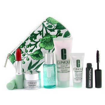 Clinique-Travel Set: Cleanser + Moisture Lotion 2 + Repairwear Concentrate + Night Cream + Mascara +Lipstick