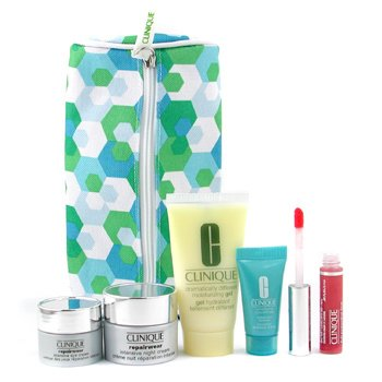 Clinique-Travel Set: DDMG + Night Cream + Eye Cream + Turnaround Renewer + Lip Gloss + Bag