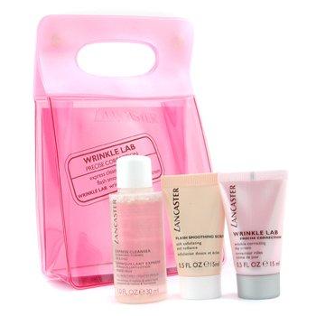 Lancaster-Wrinkle Lab Precise Correction Travel Set: Cleanser + Scrub + Day Cream + Bag