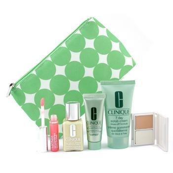 Clinique-Travel Set: DDML 30ml + Scrub Crm. 50ml + Moisturizer 15ml + Mini Powder Makeup + Lipgloss 2.4ml + Bag