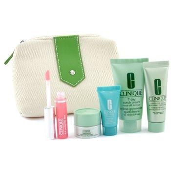 Clinique-Travel Set: Scrub 30ml + Continuous Cream 15ml + Turnaround Renewer 7ml + Eye Cream 5ml + Liploss 2.