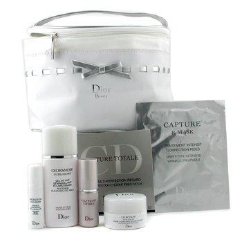 Christian Dior-Diorsnow Set: Cleanser 50ml+ Cream 15ml+ Essence 5ml+ C. Eye Mask+ C. Total Essc. 10ml+ C. R-Mask+ Bag