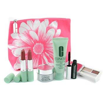 Clinique-Travel Set: Liquid Soap 50ml + Zero Gravity Cream 15ml + Eye Shadow 1.8g + Mascara 4g + 2x Lipstick 4g + Bag