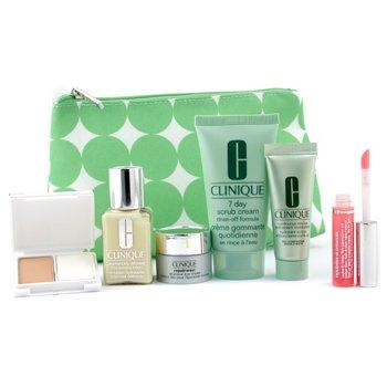 Clinique-Travel Set: Scrub 50ml + Continuous Cream 15ml + DDML 30ml + Eye Cream 7ml + Lipgloss + Powder MakeUp  +