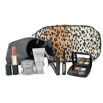Lancome-Travel Set ( Warm ): Lipstick+ E/S Palette+ Mascara Base+ Definicils+ Crm+ Serum+ 2xBag
