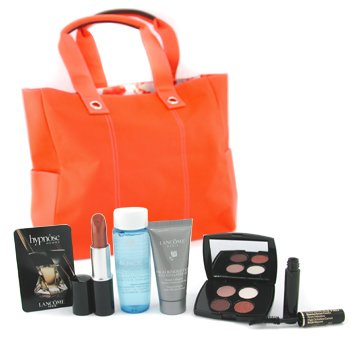 Lancome-Travel Set ( Warm ): Lipstick+ E/S Palette+ Definicils Curved Brush+ Serum+ Bi-Facil+ Hypnose Homme Sample