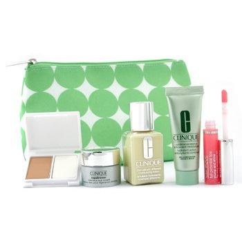 Clinique-Travel Set: DDML 30ml + Continuous Cream 15ml + Repariwear Eye Cream 7ml + Lipgloss + Foundation + B