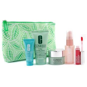 Clinique-Travel Set: Scrub 50ml + Moisture Surge Spray 30ml + Superdefense Cream 15ml + Turnaround Renewer 15