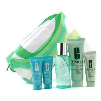 Clinique-Travel Set: Facial Soap + Lotion 2 + Continuous Cream + Trunaround Renewer + Trunaround Mask