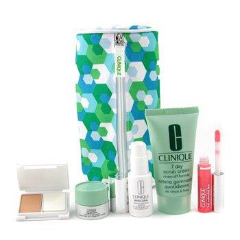 Clinique-Travel Set: Scrub + Derma White Essence + Repairwear Eye Cream + Lipgloss + Foundation