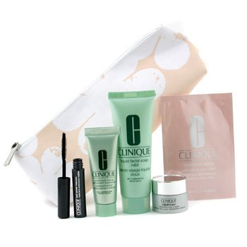 Clinique-Travel Set: Facial Soap + Continuous Cream + Repairwear Eye Carem + Moisture Surge Eye Mask + Mascar